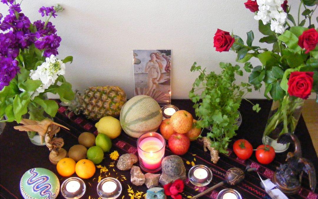 Werken met een ceremonieel altaar